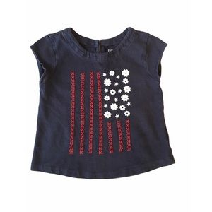 Baby Gap patriotic flag red white blue top 2T girl